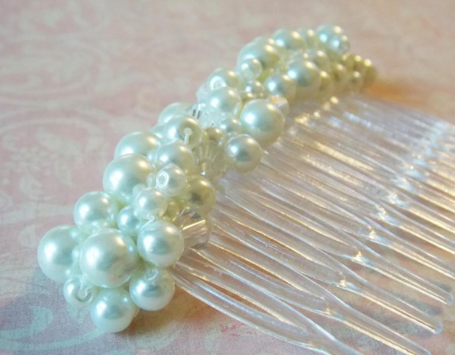 Mariage - Large White Pearl Haircomb Chunky Pearl Hair Comb Decorative Comb Bridal Updo Hair Accessory Pearl Wedding Hair Decoration Haircomb For Veil