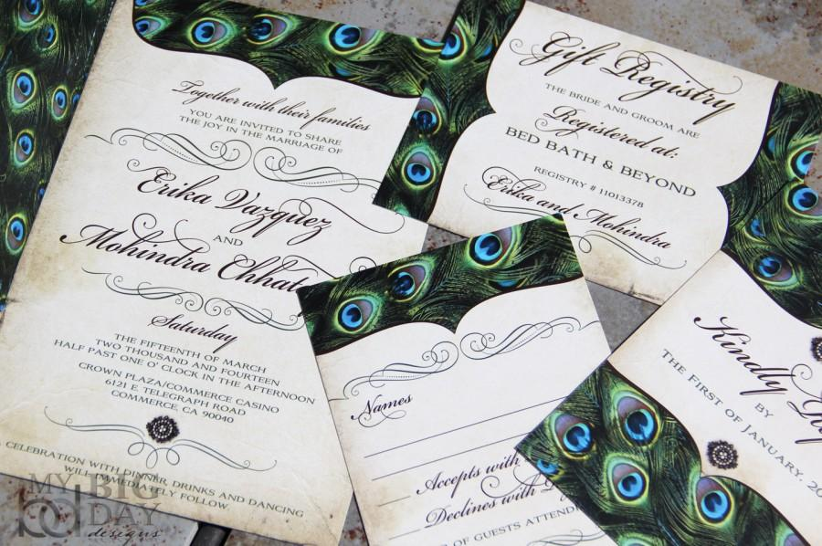 Vintage Peacock Feathers Wedding Invitation Set Sophisticated Invitations Exquisite Feather