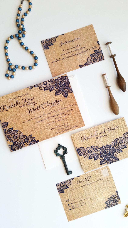 Свадьба - RUSTIC BURLAP LACE wedding invitation set - Albany (neutral burlap version)