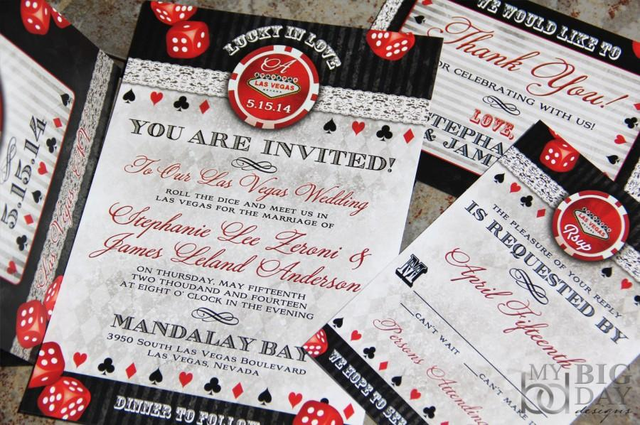 Lucky In Love Las Vegas Destination Wedding Invitations Chip And Dice