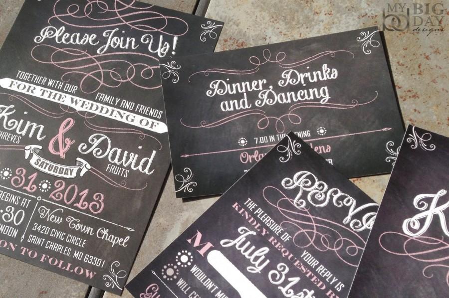 Свадьба - Chalkboard Art Script and Flourish Wedding Invitations. Trendy chalkboard wedding invitations. Custom fonts, colors & wording FREE
