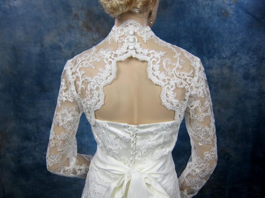 Hochzeit - Sale - Ivory long sleeve lace bridal bolero jacket - keyhole back - was 129.99