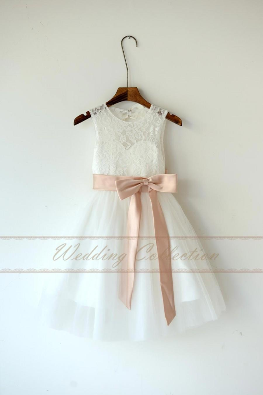 Hochzeit - Ivory Lace Tulle Flower Girl Dress With Blush Sash and Bow
