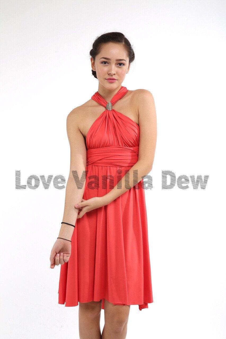 Hochzeit - Bridesmaid Dress Infinity Dress Coral Straight Hem Knee Length Wrap Convertible Dress Wedding Dress
