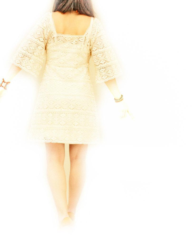 Hochzeit - Mexican Dress Crochet Lace inspired Bell Sleeves Fiesta Celebration 1960