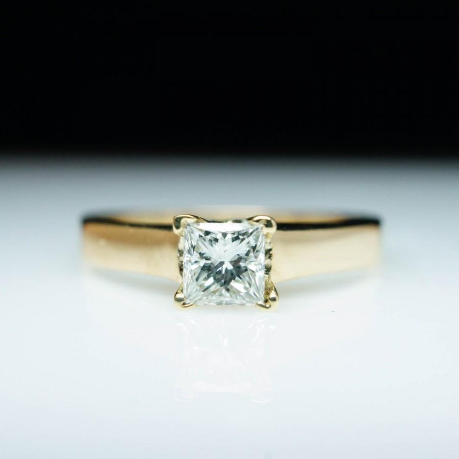 زفاف - SALE Vintage Princess Cut Diamond Engagement Ring 14k Yellow Gold - Size 4.5 Solitaire Engagement Vintage Engagement Ring Diamond Engagement