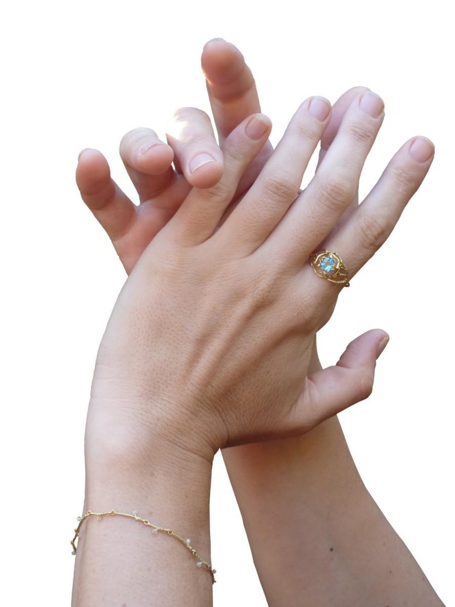 زفاف - Gold ring, blue topaz,14k solid gold ring, bridal jewelry, nature engagement ring, December birth stone.