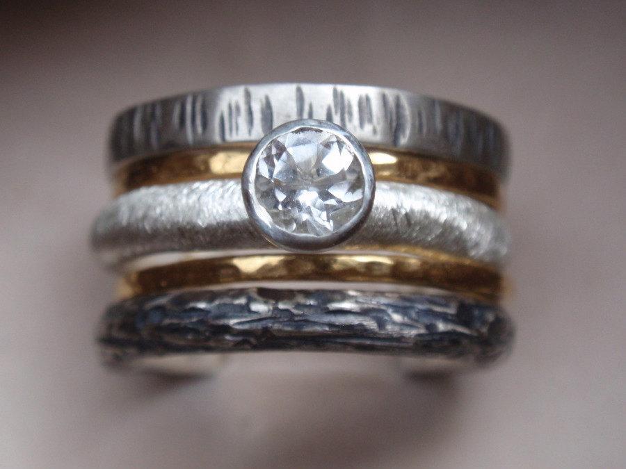 Unique Engagement Ring Wedding Ring Set Of 5 Stacking Rings 14k