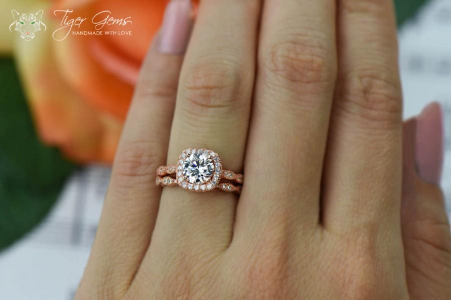 125 carat halo wedding set vintage style bridal rings man made diamond simulants art deco engagement ring sterling silver rose gold - Rose Gold Wedding Ring Set