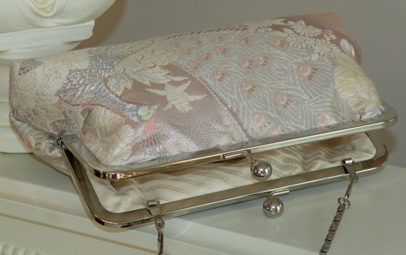 Boda - Bridal Pink Peacock Purse/Bag/Clutch Wedding Gift..White&Silver Feathers/Florals on Blush..Silk Kimono Obi..Free Monogram