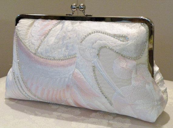 Wedding - 10 inch Crystals Crane Clutch/Bag/Purse..Long Island Bride/Wedding Gift/Bridal Silk Kimono/Ivory/Blushing Pink Feathers Ready To Ship/OOAK