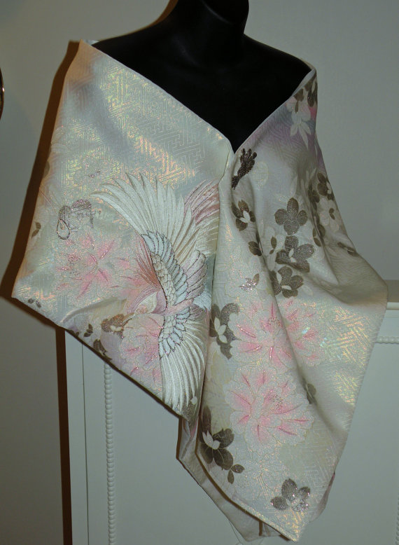 Wedding - Wedding Kimono Fabric Shrug/Shawl/Wrap..Embroidered Flying Phoenix Bird..Bridal Blue/Long Island Wedding/Free Monogram,,Cluth/Bag available
