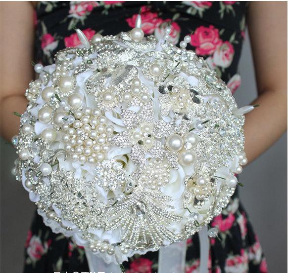 Wedding - 9 Inch White Bridal Flower Wedding Bouquet Brooch use Swarovski Crystal Made Pearl Rhinestone Always Love You -6