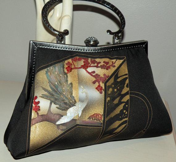 Mariage - White Peacock Clutch Bag Purse/Long Island Bride Bridal Wedding Gift/Cherry Blossom/Silk Kimono/Rhinestone/Black/Red/Gold/Wrap/Scarf/Shrug