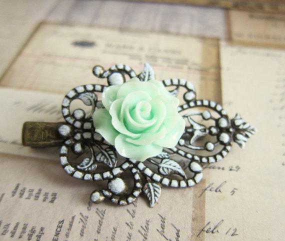 Свадьба - Wedding Hair Accessories Mint Green Rose Hair Clip Bridesmaid Gift Bridal Hair Pin Pastel Green Shabby Chic Vintage Style Flower Girl