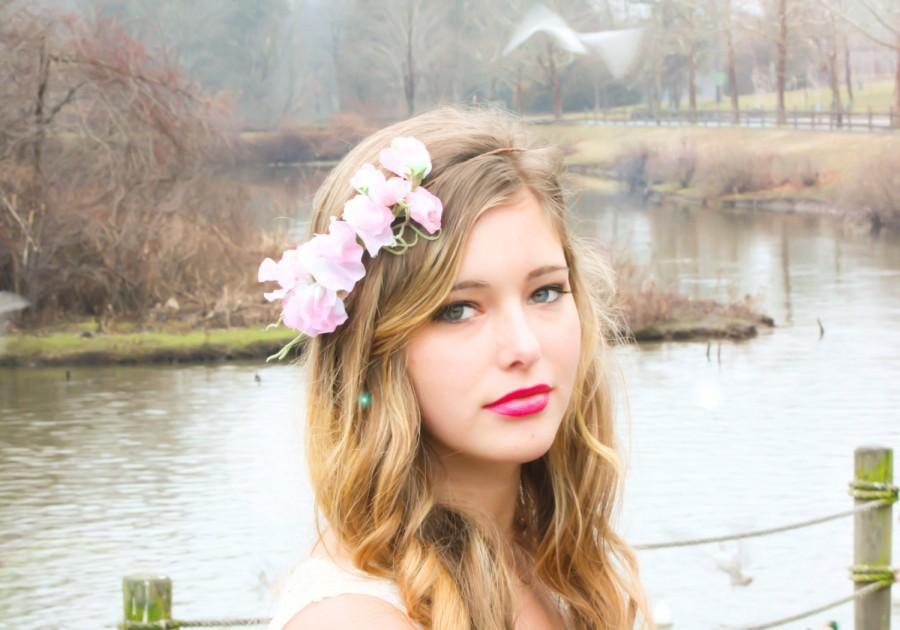 زفاف - sweet pea flower band flower hairpiece