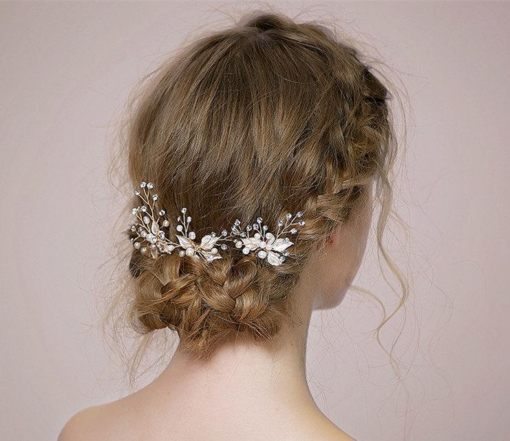 Hochzeit - Fresh water Pearl Wedding Hair Accessories, Bridal Hair Pins, Formal Hair Pins, Wedding Hair piece, Cream Pearl Hair Pins MD079