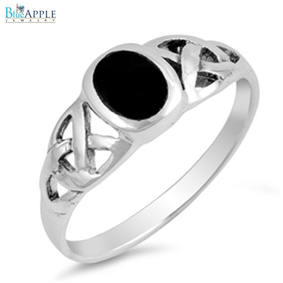 Mariage - Celtic Ring Oval Cut Black Onyx Solitaire Bezel Set Celtic Design Twisted Knot Solid 925 Sterling Silver Solitaire Engagement Ring