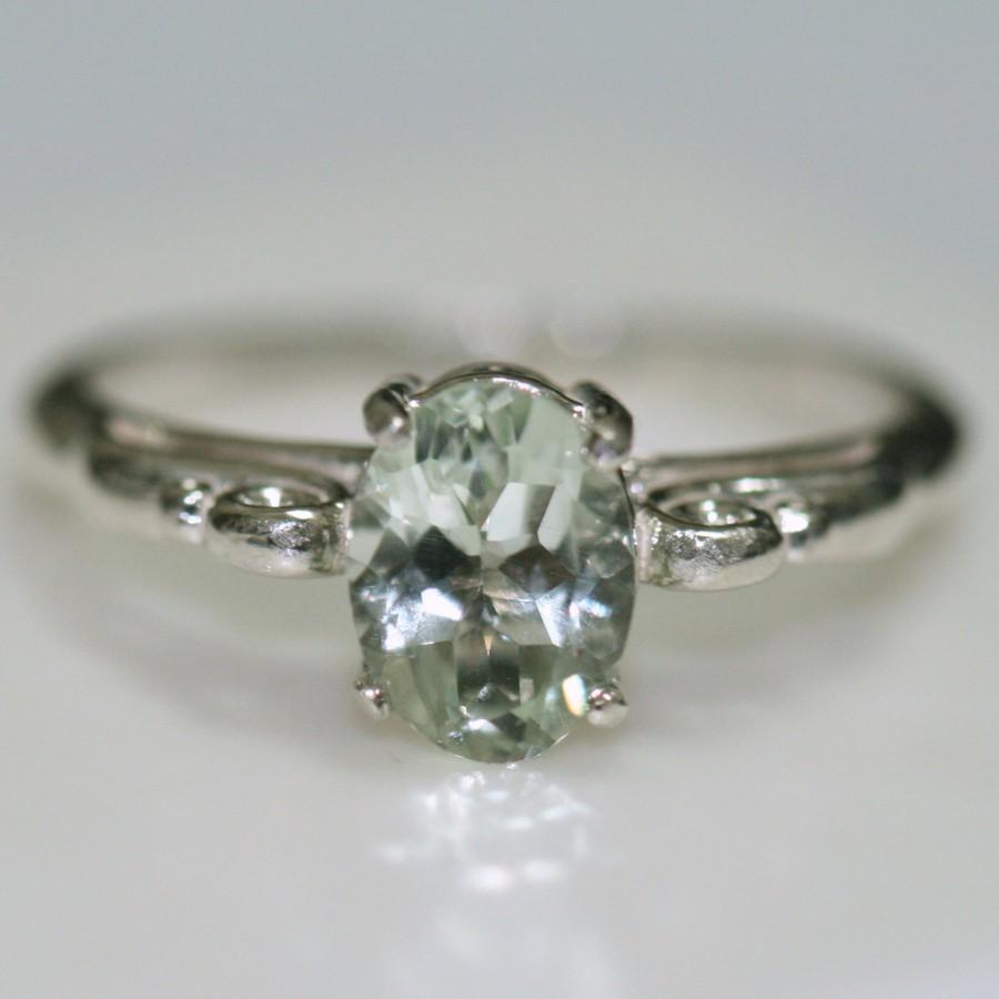 green amethyst ring prasiolite ring antique style sterling