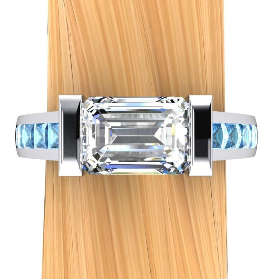 Свадьба - Palladium Diamond Engagement Ring, Over 1 Carat Solitaire VS2 with Blue Diamond Accents - Free Gift Wrapping