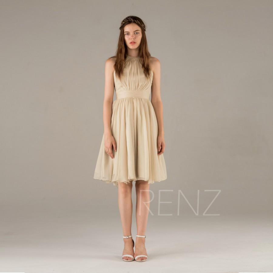 2015 beige bridesmaid dress a line chiffon dress short