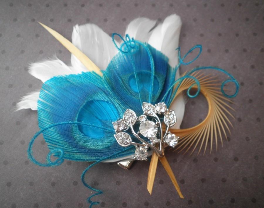 زفاف - Bridal Feather Fascinator, Peacock feather hair clip, Feather Hair Piece, Wedding Hair Accessory, blue, teal, turqouise - TEAL PALMS