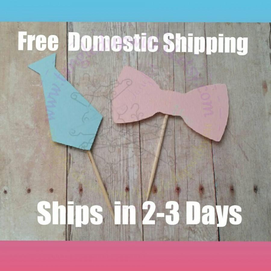 Hochzeit - 12 bow tie and bow cupcake Toppers, gender reveal party, Baby Shower decorations, Baby shower cake toppers, baby cupcake toppers