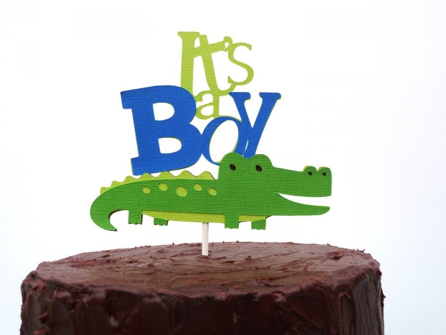Hochzeit - It's a Boy Preppy Alligator Cake Topper - Alligator Baby Shower - Gator Party Decorations - Gift idea for Mom to be