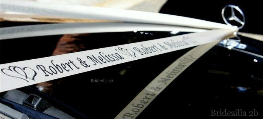 Hochzeit - Personalised Ribbon,Wedding Car, Bride Name, Groom name, Wedding Date, Hearts, White Satin Ribbons,