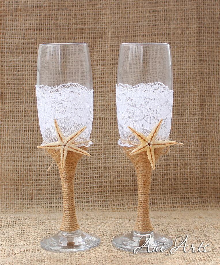 Nautical Toasting Flutes Beach Wedding Champagne Gles Mr And Mrs Burlap Reception Bride Groom