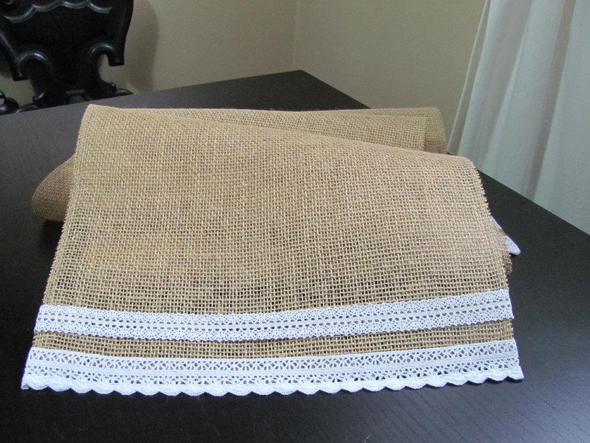 زفاف - Simple Lace & Burlap Table Runner - Wedding / Event Supplies