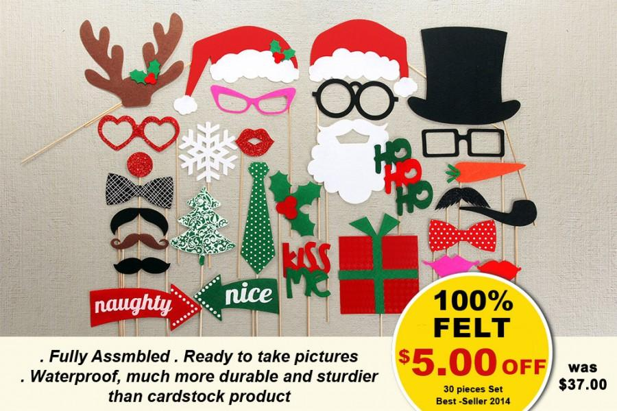 christmas photo booth props 30 piece on a stick photo props set santa photobooth party props