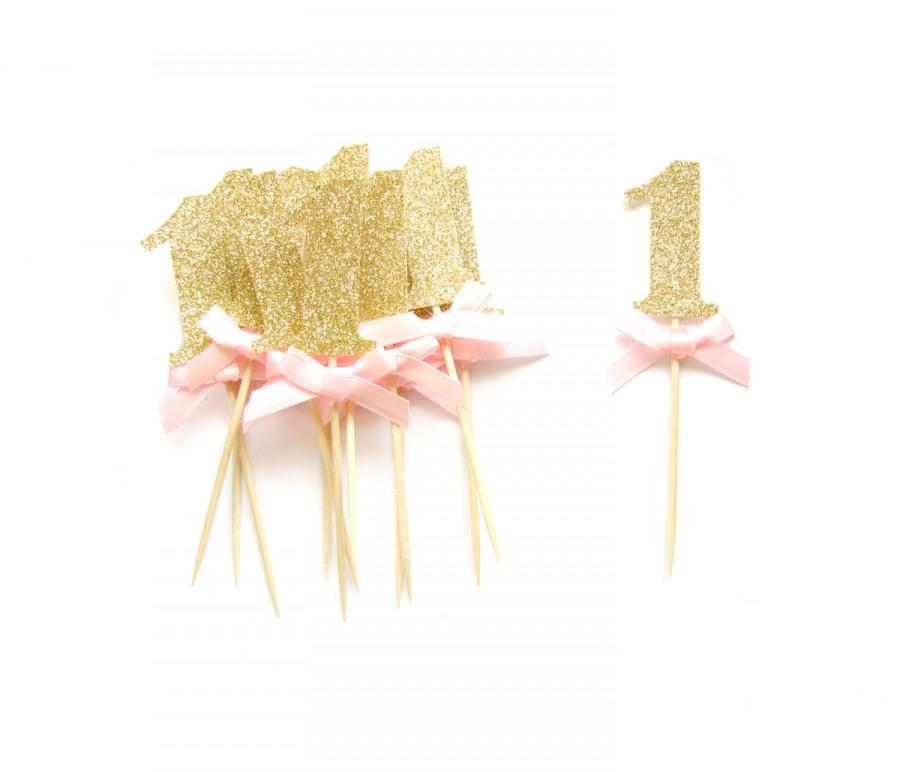 Custom Gold Glitter Number Cupcake Toppers 1st Birthday Birthday