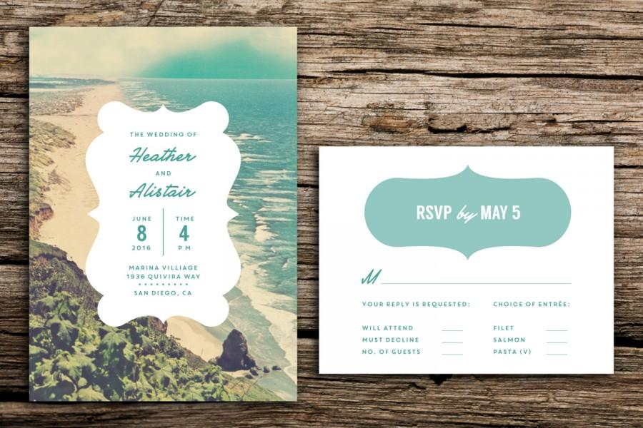 Tranquil Beach Wedding Invitation Set Destination Vintage Playa California Florida Oregon
