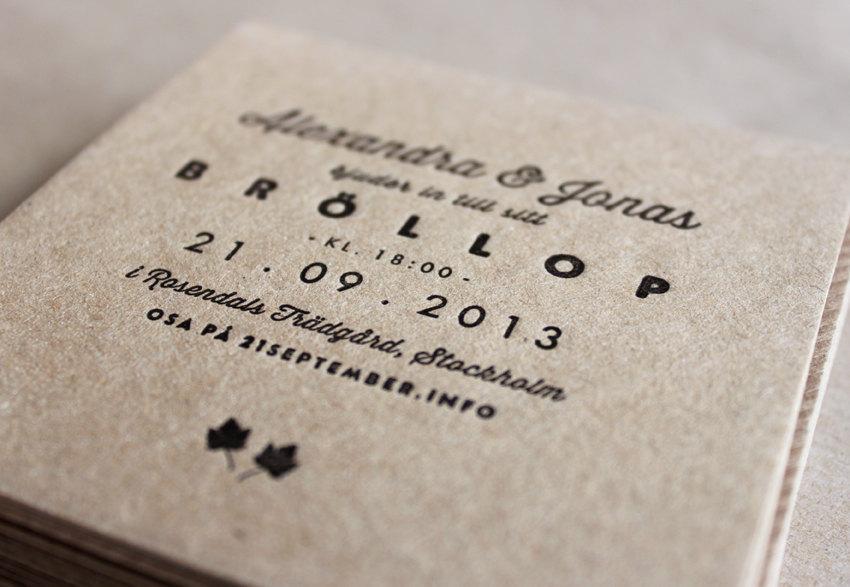 Свадьба - Letterpress Wedding Invitations, Made to order - 'Pearl' Design. Set of 45.