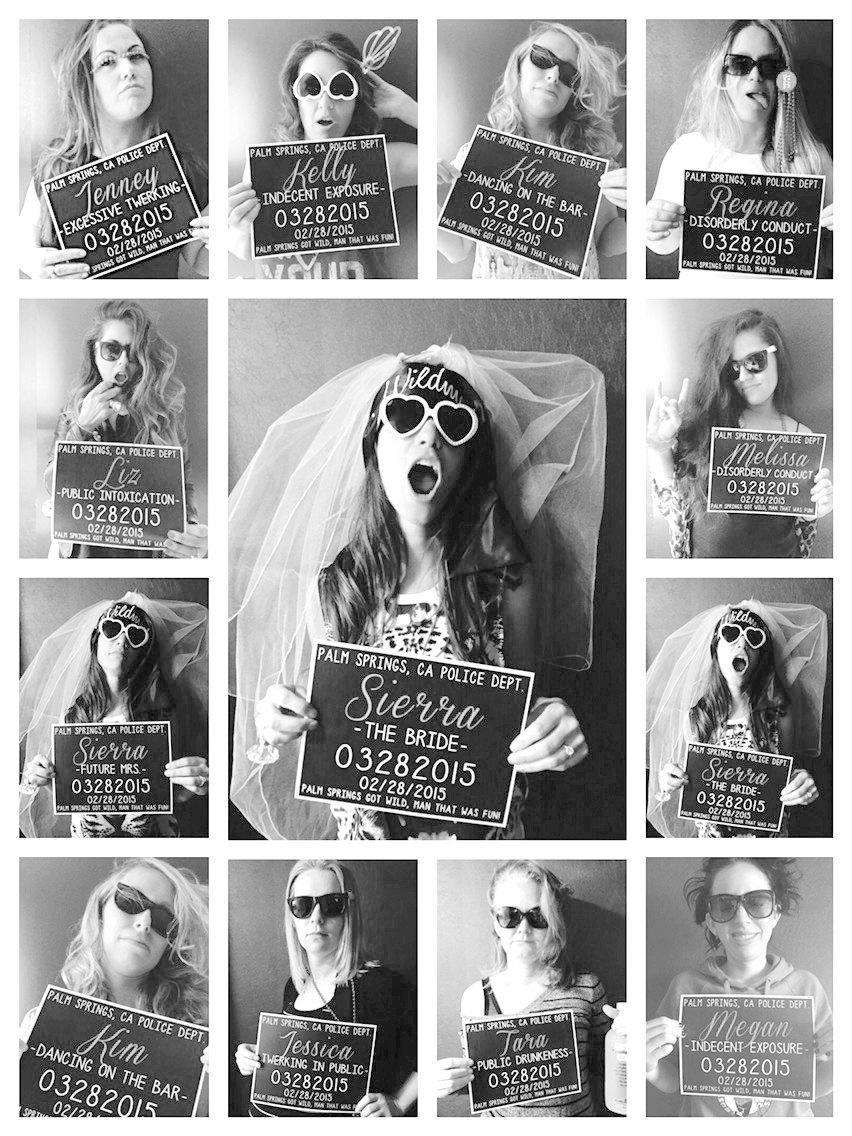 Свадьба - Bachelorette Party Mugshot Signs.  Customized with your girls' information, and your ink color!