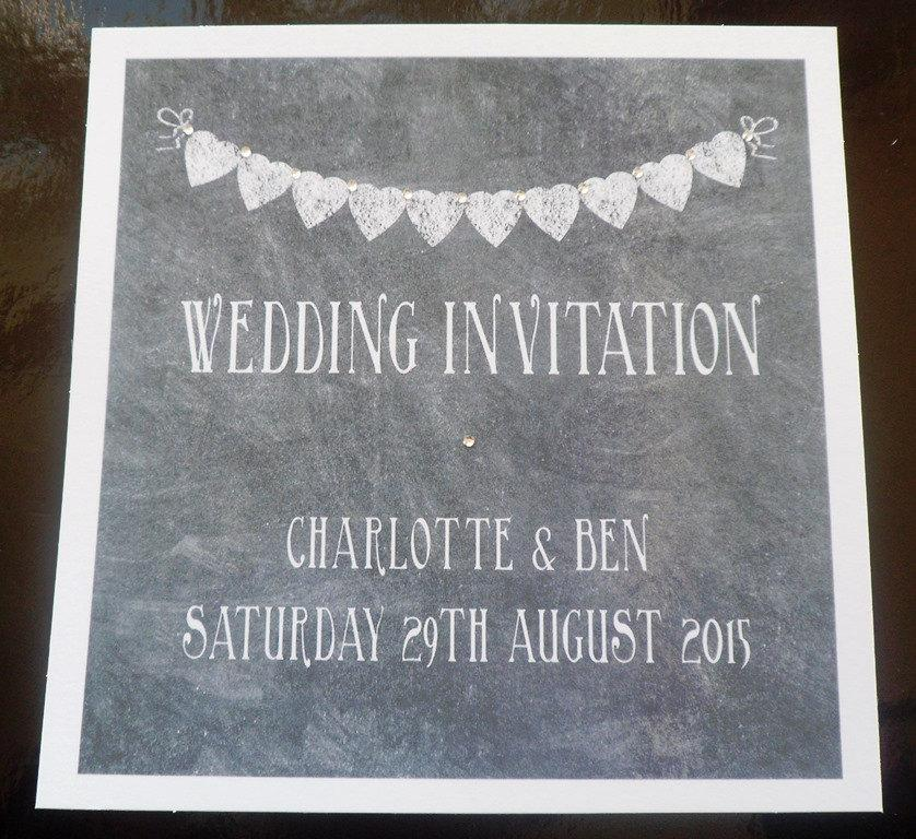 handmade personalised 6 square wedding invitation vintage