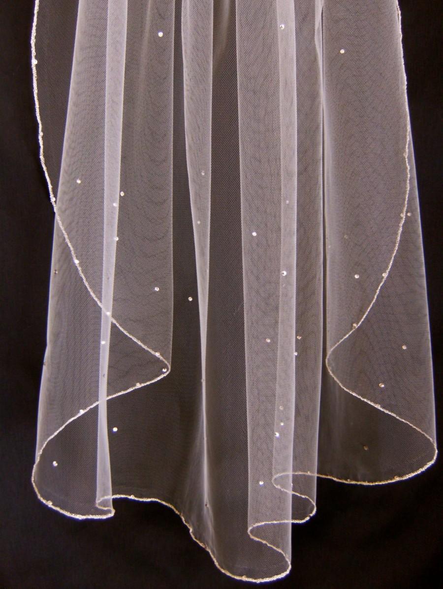 Свадьба - Bridal Veil Swarovski Crystal Rhinestone Sheer 28 Inch Long Elbow Length Wedding Veil with Silver Pencil Edge Trim