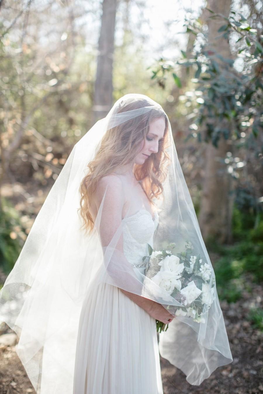 Hochzeit - Cathedral Bridal Veil, Simple Veil, Drop Veil, Circle Veil, Bridal Veil, Long Veil, Double Veil, Tulle Veil, Silk Tulle Veil, Lucille Veil