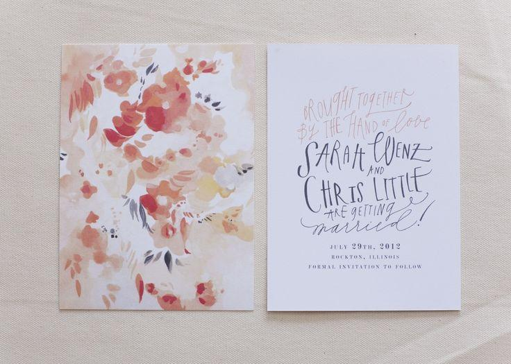 Hochzeit - Hand Painted And Lettered Save The Dates For Sarah And Chris