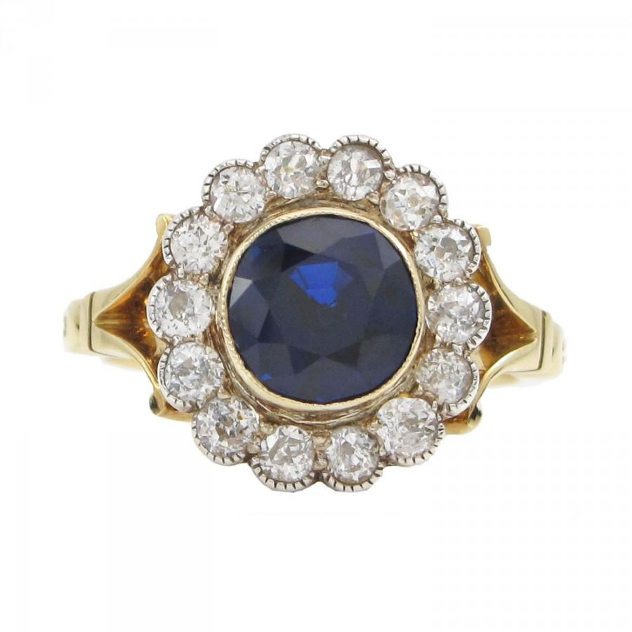 Свадьба - Natural Blue Sapphire & Diamond Vintage Ring