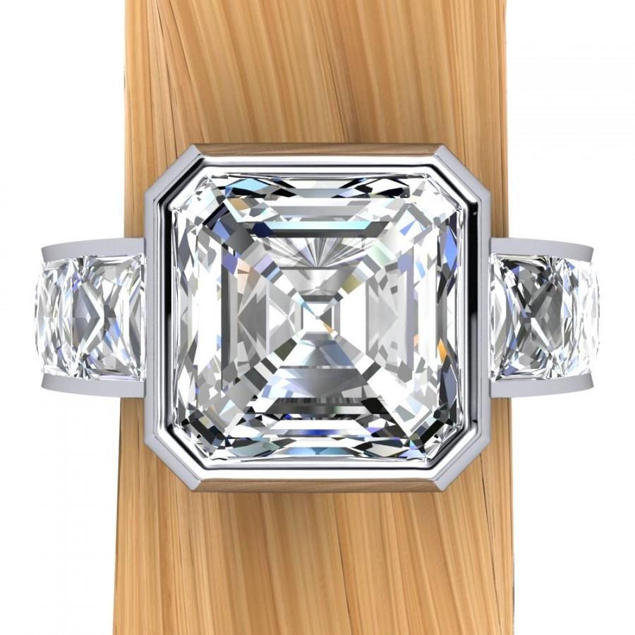 زفاف - Diamond Engagement Ring in Platinum, 3 Carat Asscher Cut Diamond, 5 Carats Total Weight - Free Gift Wrapping