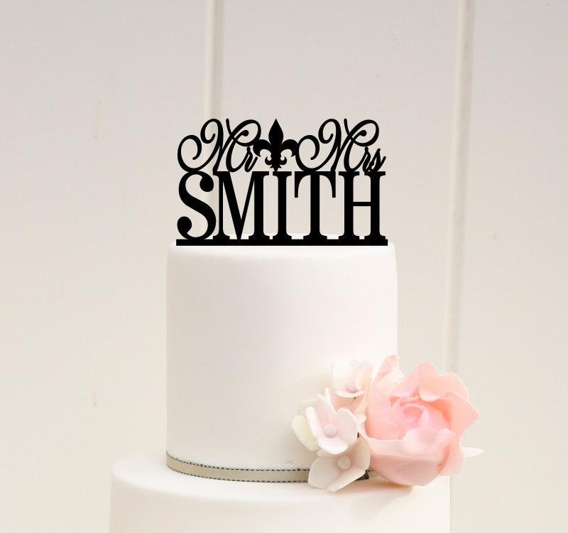 زفاف - Mr and Mrs Fleur De Lis Wedding Cake Topper Personalized with YOUR Last Name - 0061