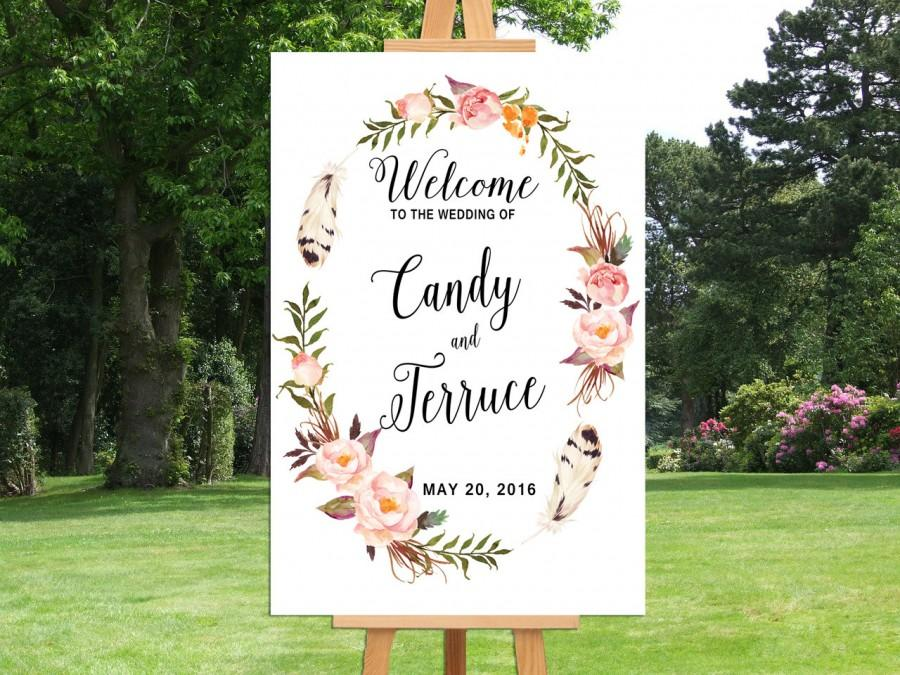 Printable wedding welcome sign bohemian wedding sign printable boho reception sign printable for Wedding signs templates