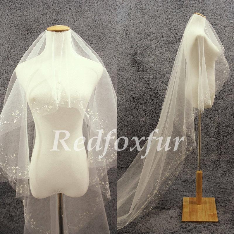 Mariage - Bridal Veil Ivory Cathedral Veil 1 tier Refinement Hand-beaded Veil Wedding dress veil Wedding Accessories No comb