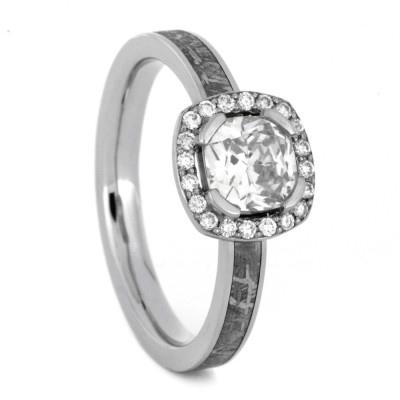 Wedding - Moissanite Ring with Diamond Accents and Meteorite in Palladium