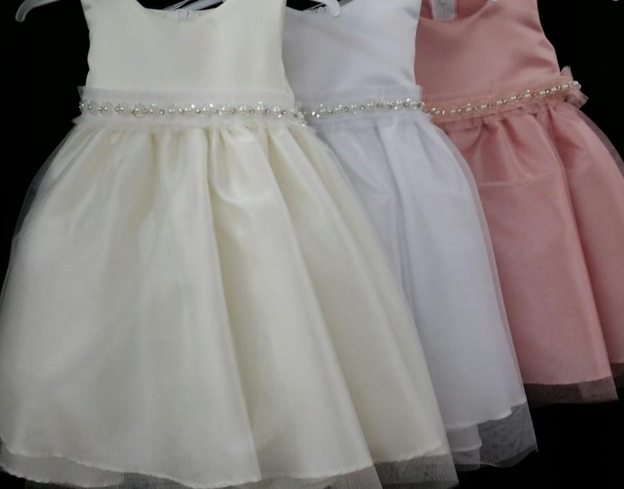 Hochzeit - NEW Girls Good Girl 3521B Baby Infant Toddler Satin Bodice Tulle Skirt Pearl Belt Pageant Baptism Wedding Flowergirl Party sleeveless dress
