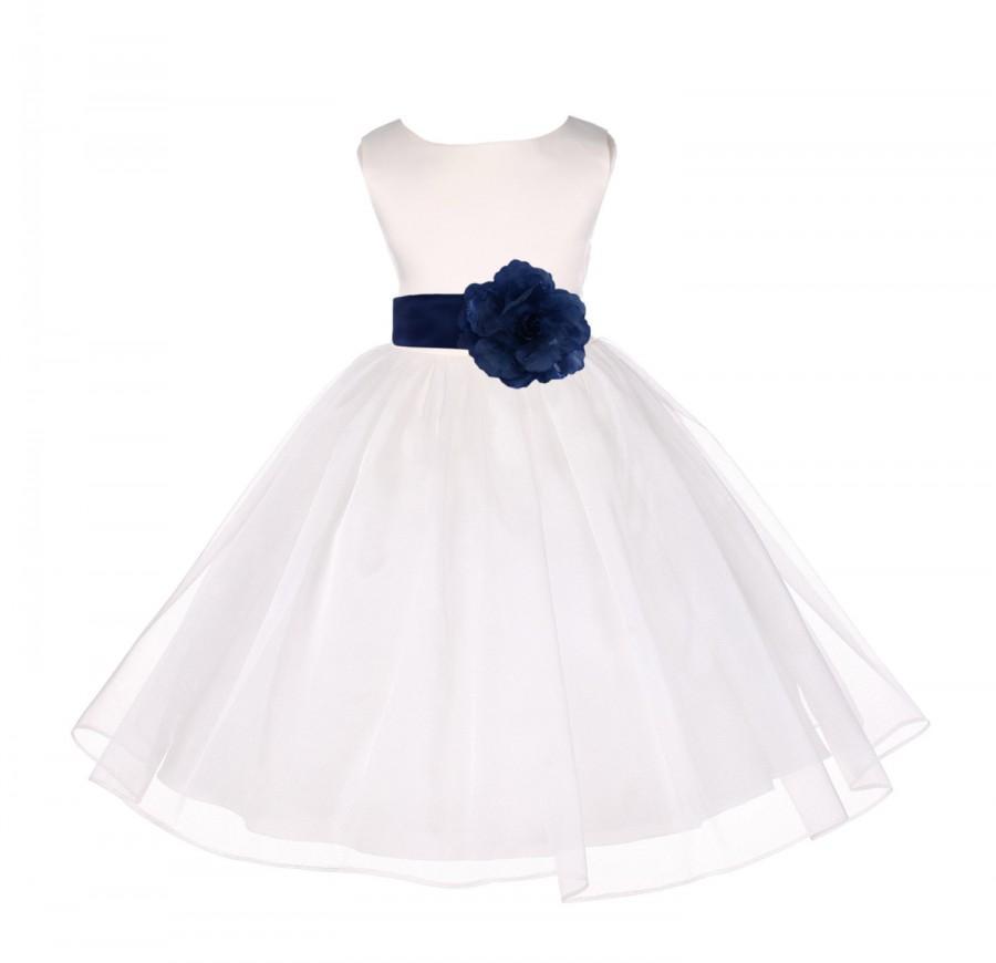 395010d9534 Ivory Flower Girl dress tie sash pageant organza wedding bridal recital  children bridesmaid toddler elegant sizes 12-18m 2 4 6 8 10 12