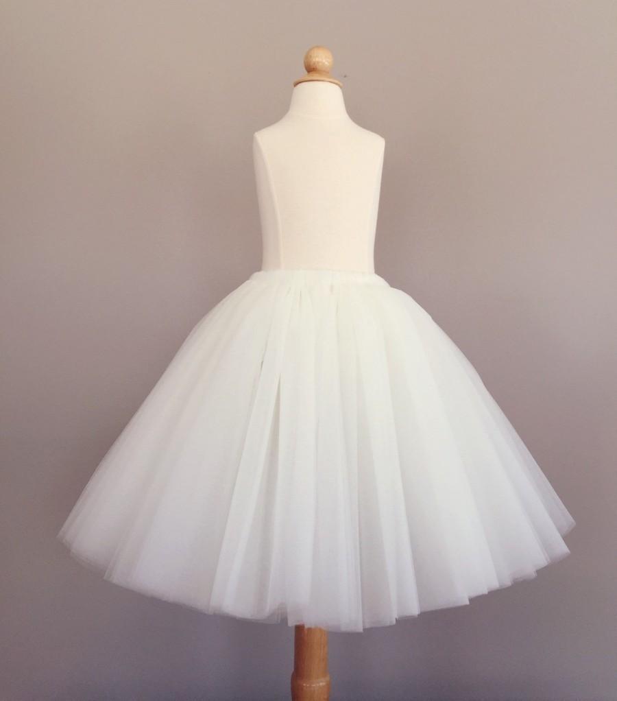 Nozze - Flower girl tutu, long tulle skirt, ivory tutu, long tulle skirt ANY COLOR