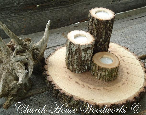 Mariage - 3 Rustic wood candle holders sticks for votive candles, weddings, decoration, decor, natural tree branch, log candle holders